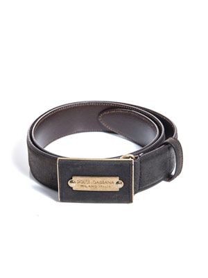 Suede plaque buckle belt