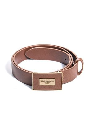 Leather plaque buckle belt