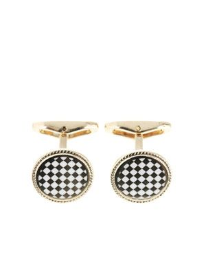 Checked disc cufflinks
