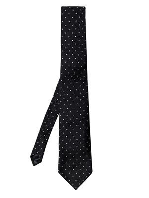 Dot embroidered tie