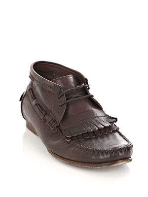 Navajo washed leather loafers