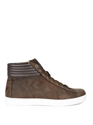 Suede high-top trainers