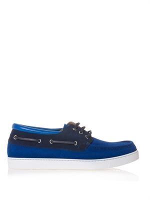 Colour-block suede boat shoes