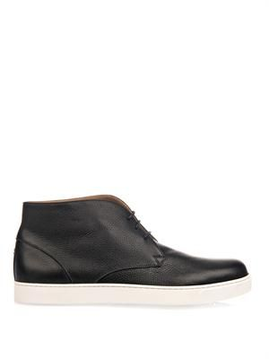 Lace-up leather desert boots