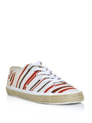 Stripe canvas trainers