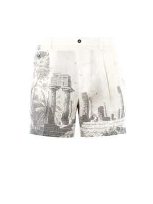 Temple-print hemp shorts