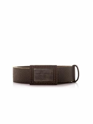 Plaque-buckle leather belt