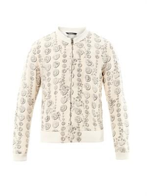 Coin stamp-print silk bomber jacket