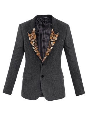 Baroque embroidered-lapel jacket