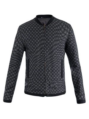 Textured-print bomber jacket
