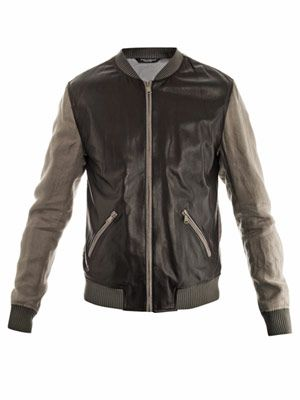 Contrast sleeve leather bomber jacket