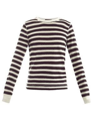 Raw-edge stripe top