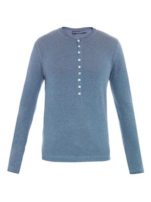 Henley melange sweater