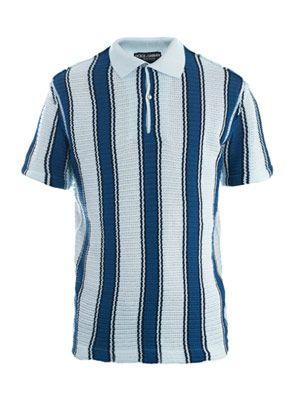 Mesh-weave stripe polo top