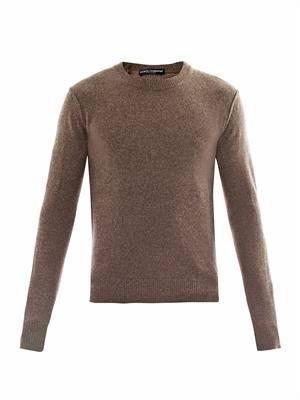 Crew-neck melange-knit sweater