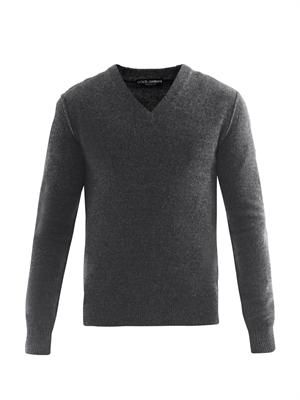 V-neck melange knit sweater