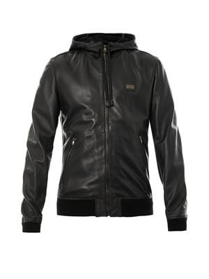 Nappa-leather hooded jacket