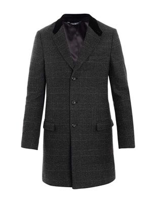 Velvet and check wool coat