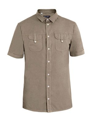 Short sleeve button-pocket shirt