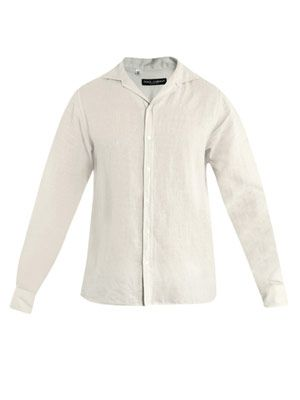 Spread collar linen shirt