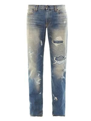 Distressed slim-leg jeans