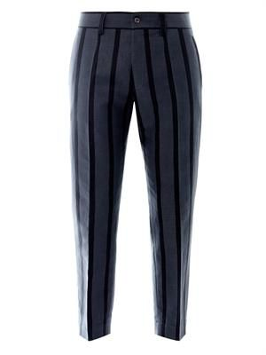 Striped linen-cotton blend trousers