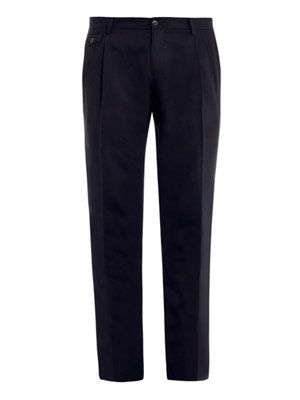 Textured wool-blend trousers