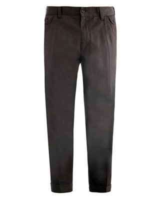 Cropped cotton-linen trousers
