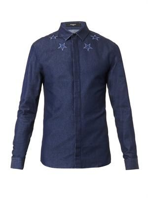 Embroidered-star denim shirt