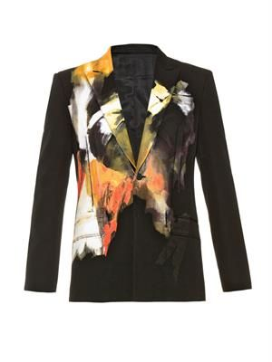 Abstract painted-print wool blazer