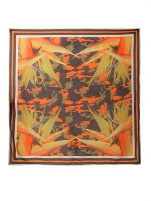Birds of paradise and camo-print scarf