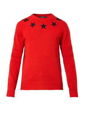 Star-embroidered wool sweater