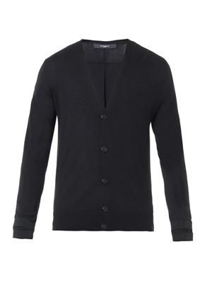 Jersey-insert fine-knit cardigan