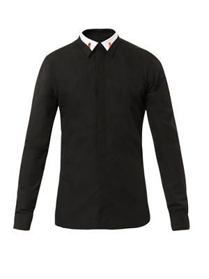 Contrast-collar cotton shirt