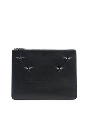 Star-embossed leather pouch