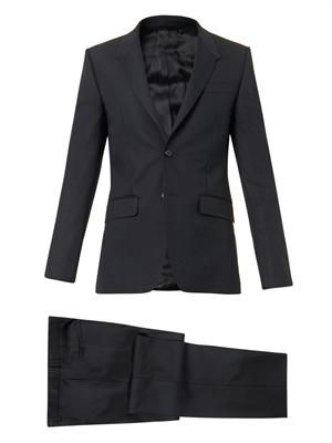 Madonna-lapel wool-blend suit