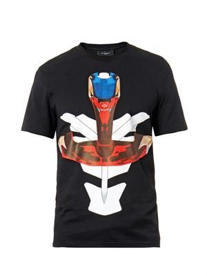 Cuban-fit Tribal Mask-print T-shirt