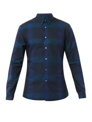 Hazy check-print cotton shirt