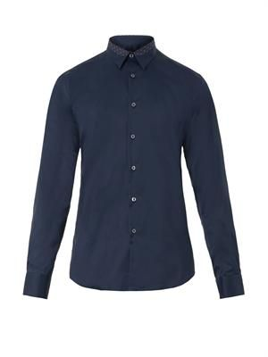 Contrast-collar stretch-cotton shirt
