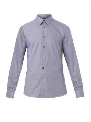 Contrast hound's-tooth cotton shirt