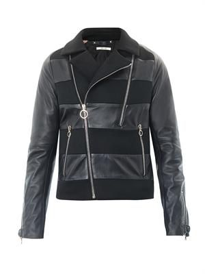 Leather and mesh biker jacket