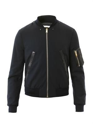 Leather trimmed bomber jacket