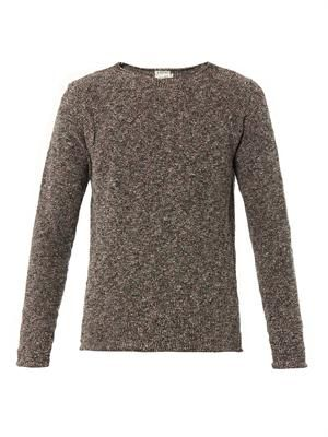 Crew-neck boucle sweater