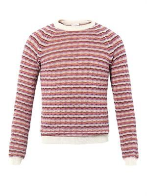 Striped wave-knit sweater