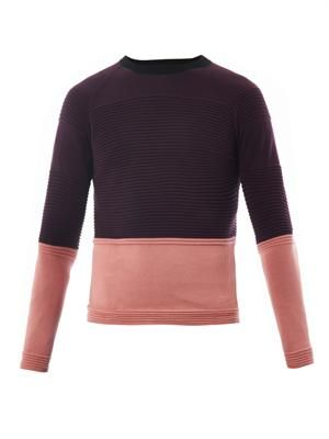 Contrast-panel cotton sweater
