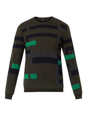 Broken-stripe intarsia wool sweater