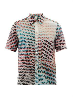 Mesh-print short-sleeved shirt