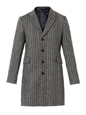 Zigzag herringbone wool coat