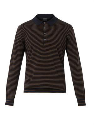Striped wool-knit polo sweater