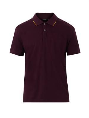 Striped-collar polo shirt